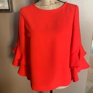 J Crew Red Ruffle Sleeve Blouse Size 6 Petite